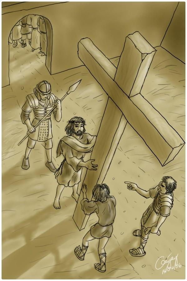 Jesus carries His cross by ultorgabrihel