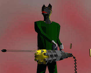 Ro and his 3D minigun by Roaether