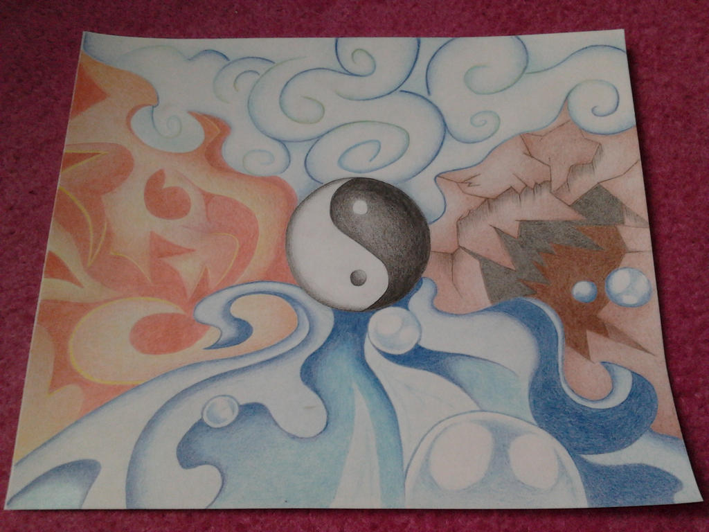Elements Of Art Drawing : Avatar the four elements by moon drawing on deviantart