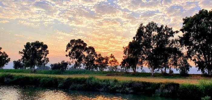 Sunset over the Jordan river