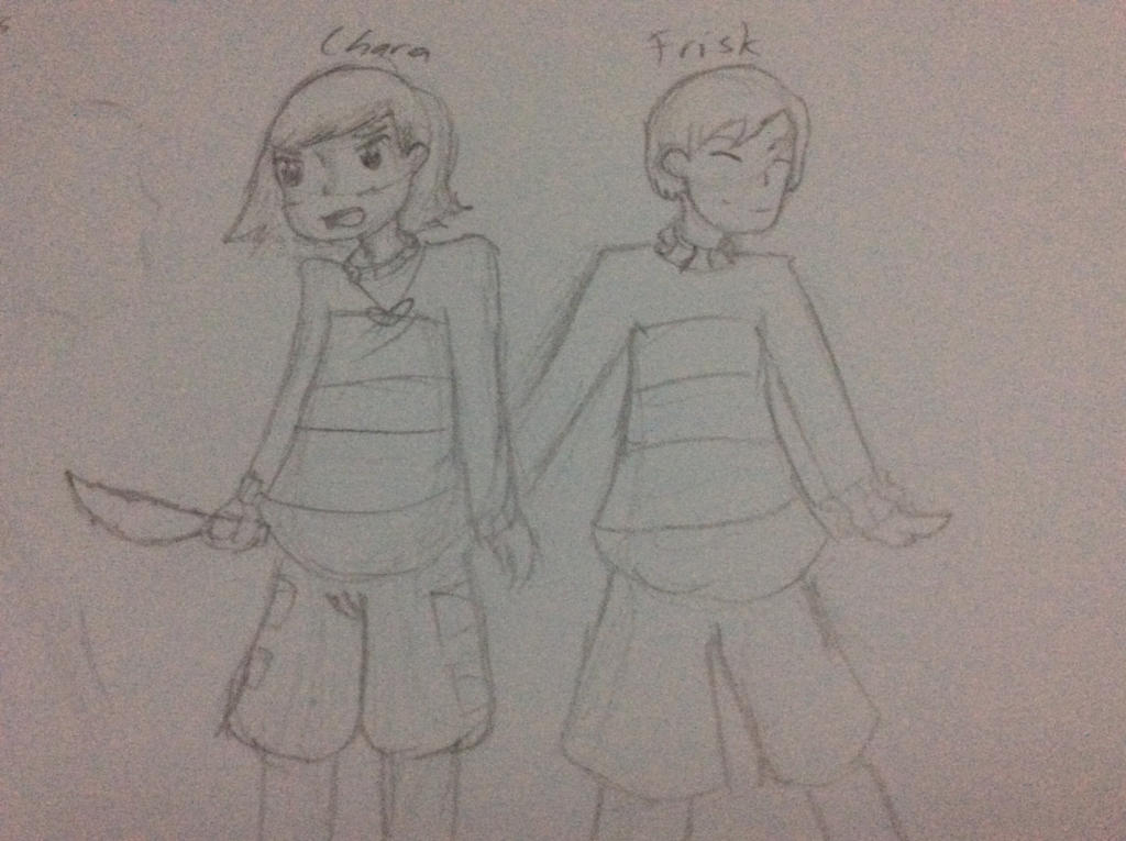 Chara and Frisk Sketch by MindyTheGamerGirl