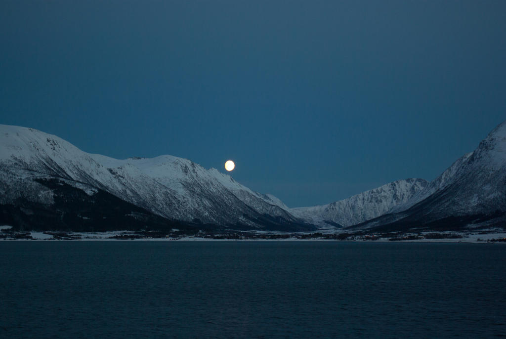 Moon over Fjord