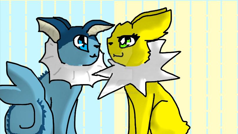 Vaporeon and Jolteon by Bindiluckycat