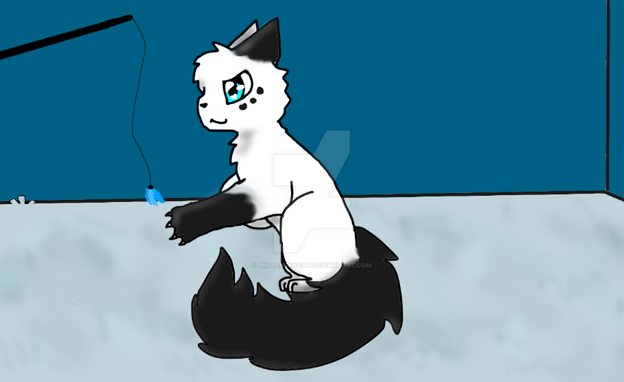A cat playing with a cat toy by Bindiluckycat