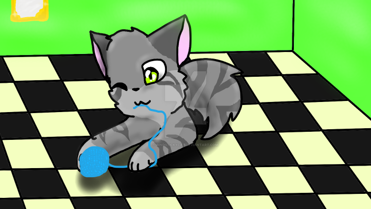 Kitten playing with Yarn by Bindiluckycat