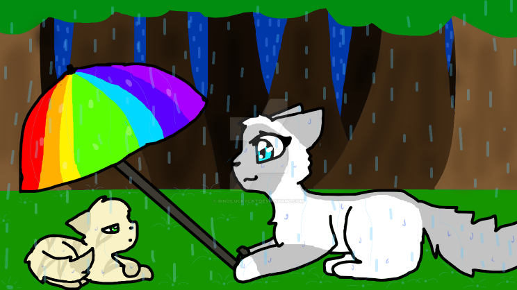 two cats in the rain by Bindiluckycat