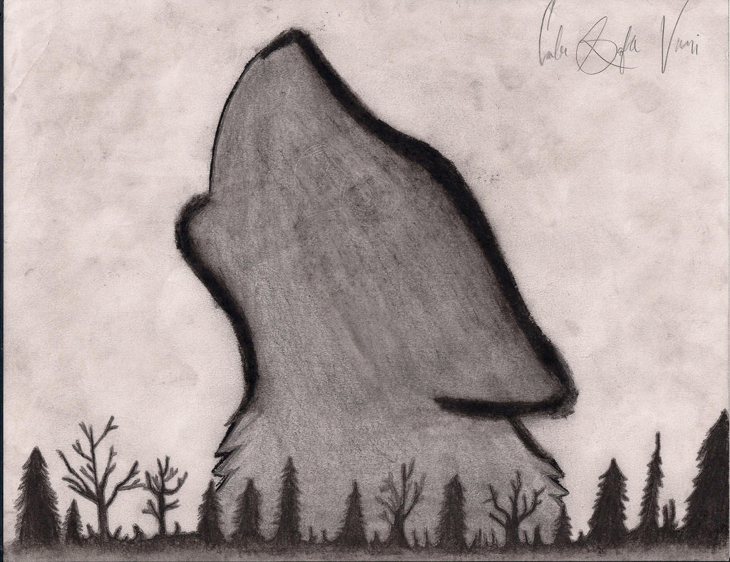 Simple Wolf Howling Drawing