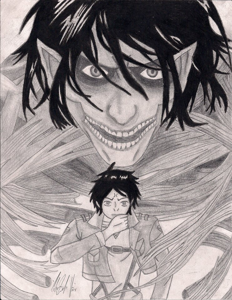 Titan Eren And Eren Drawing by