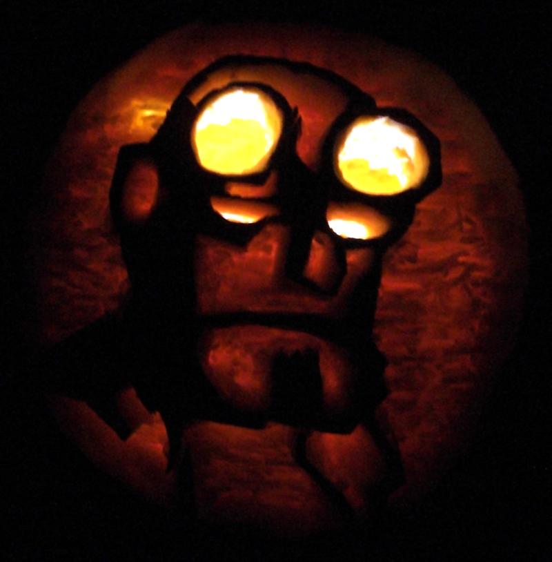 Hellboy Pumpkin by Robo-Shark
