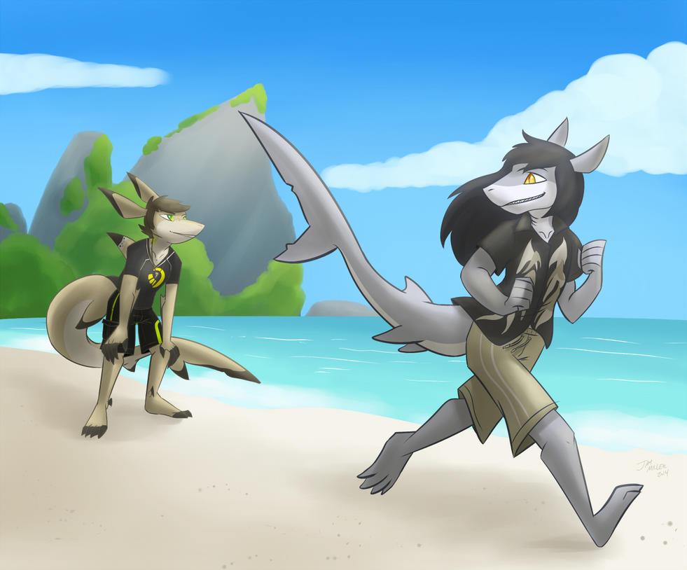Commission: Beach Run by Robo-Shark
