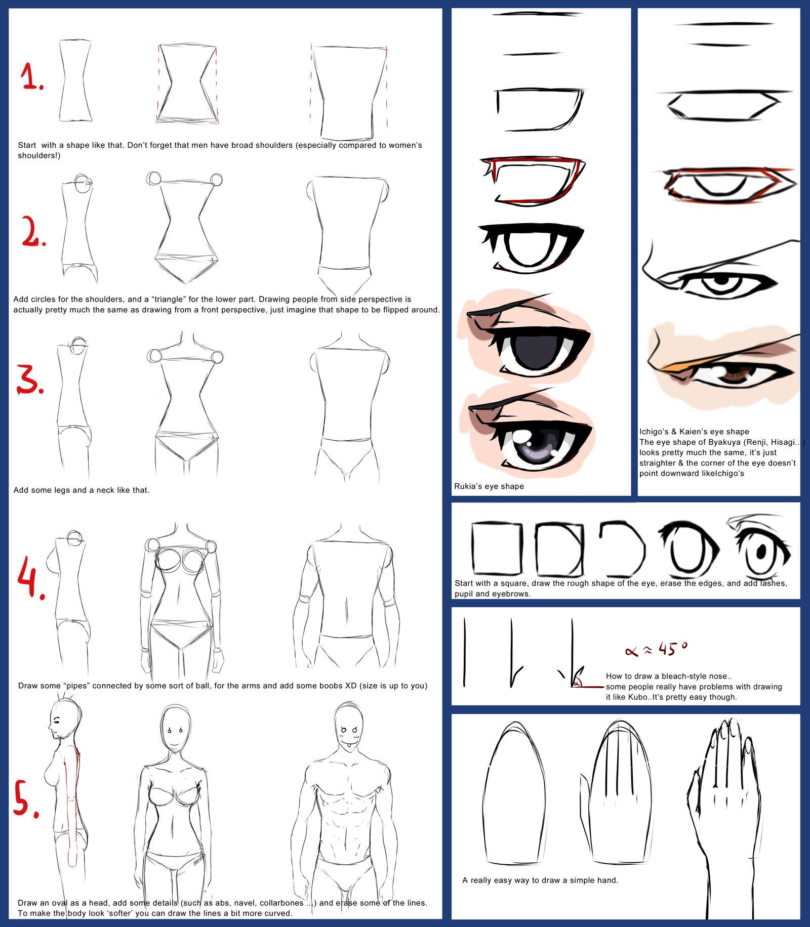 random tutorial male female bodies bleach eyes by unicornchen on