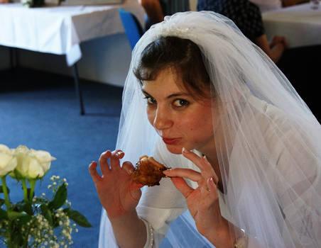 Bride with sticky chicken