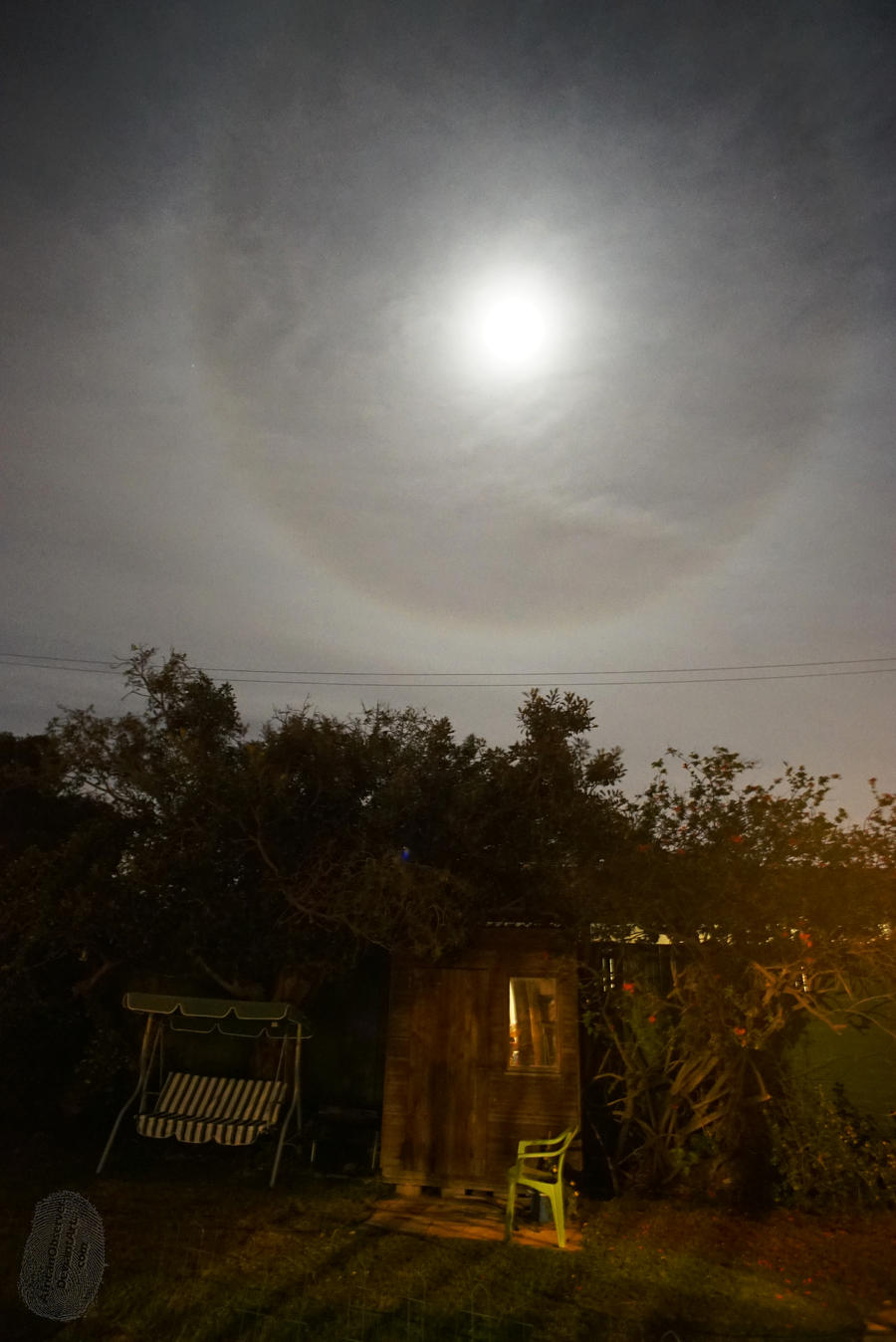 Moon halo and Shed