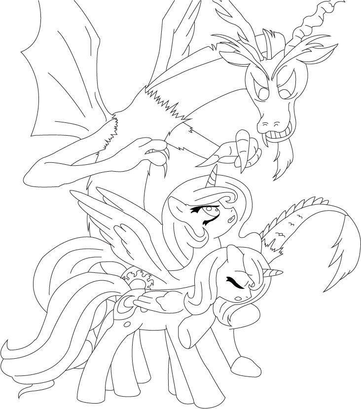 discord and the sisters coloring page by unknowncolt