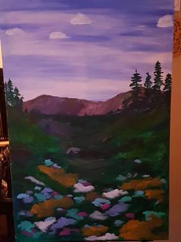 Flower field painting