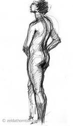Nude in charcoal 1 by zeldat