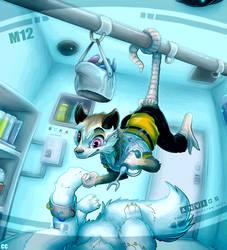 Monti does maintenance on Mittie by SkyaWaffle