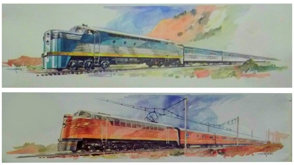Otto Kuhler Railroad Art - Diesel And Electric by PRR8157