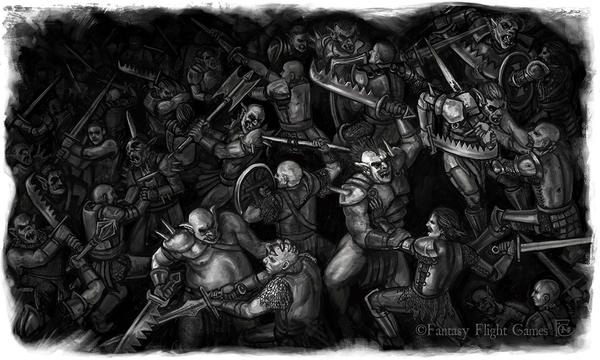 Battle Scene Orcs versus Dorns by feliciacano