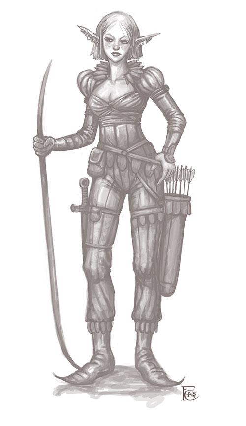 Elven Ranger Sketch by feliciacano