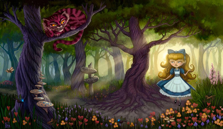 Qu'écoutez-vous en ce momment? - Page 5 Alice_Meets_the_Cheshire_Cat_by_feliciacano