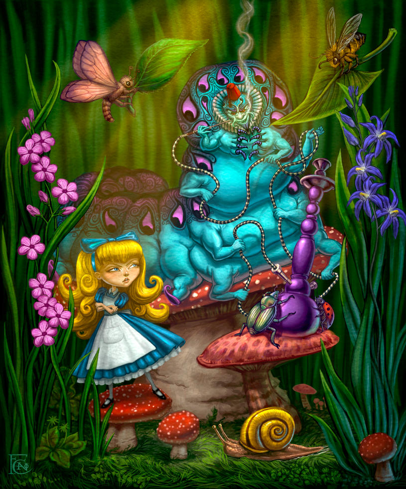 Alice and the Caterpillar by feliciacano