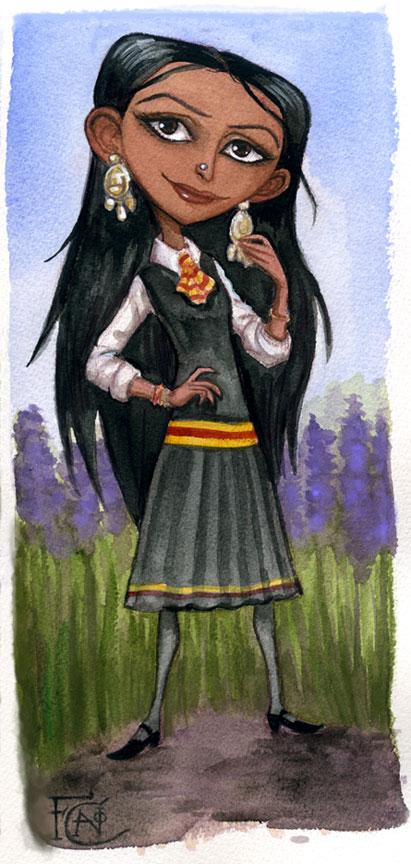 Parvarti Watercolor Sketch by feliciacano