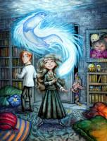Hermione's Patronus Charm by feliciacano
