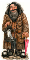 Rubeus Hagrid with Hedwig by feliciacano