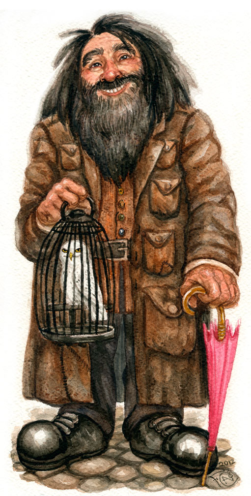 Rubeus Hagrid with Hedwig by feliciacano