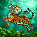 Tiger with Fish for Tiger Stripes