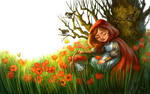 Red Riding Hood Picking Flowers by feliciacano