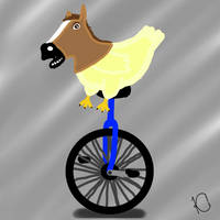 Chicken with Horse Mask on Unicycle