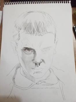 Eleven pencil sketche