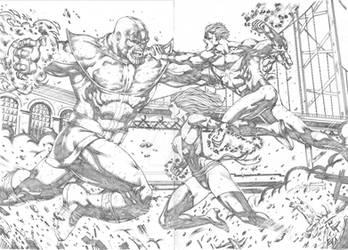 Captain Marvel and Ms Marvel vs Thanos by MarkMarvida