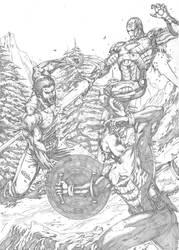 Wolverine vs Captain America and Iron man by MarkMarvida