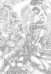 Fantastic Four vs Super Skrull Commission by MarkMarvida