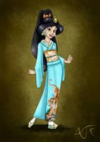 Kimono Disney Princesses : Jasmine by Atomicfrog83