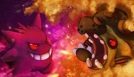 Gengar vs Hippowdon by Deruuyo