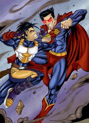 Saiyan vs Superman color by Conscentia