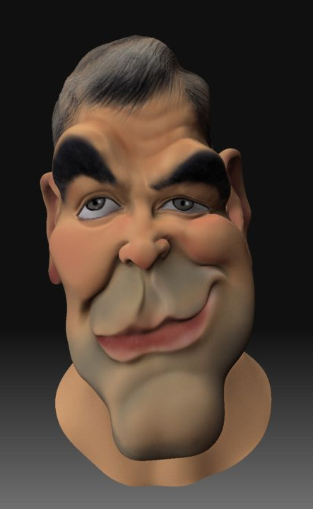 george clooney 3d caricature by mrajeev1