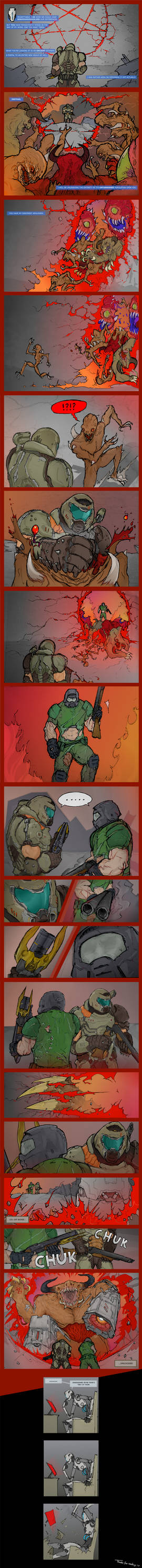 a lil comic: Doom Guy x2