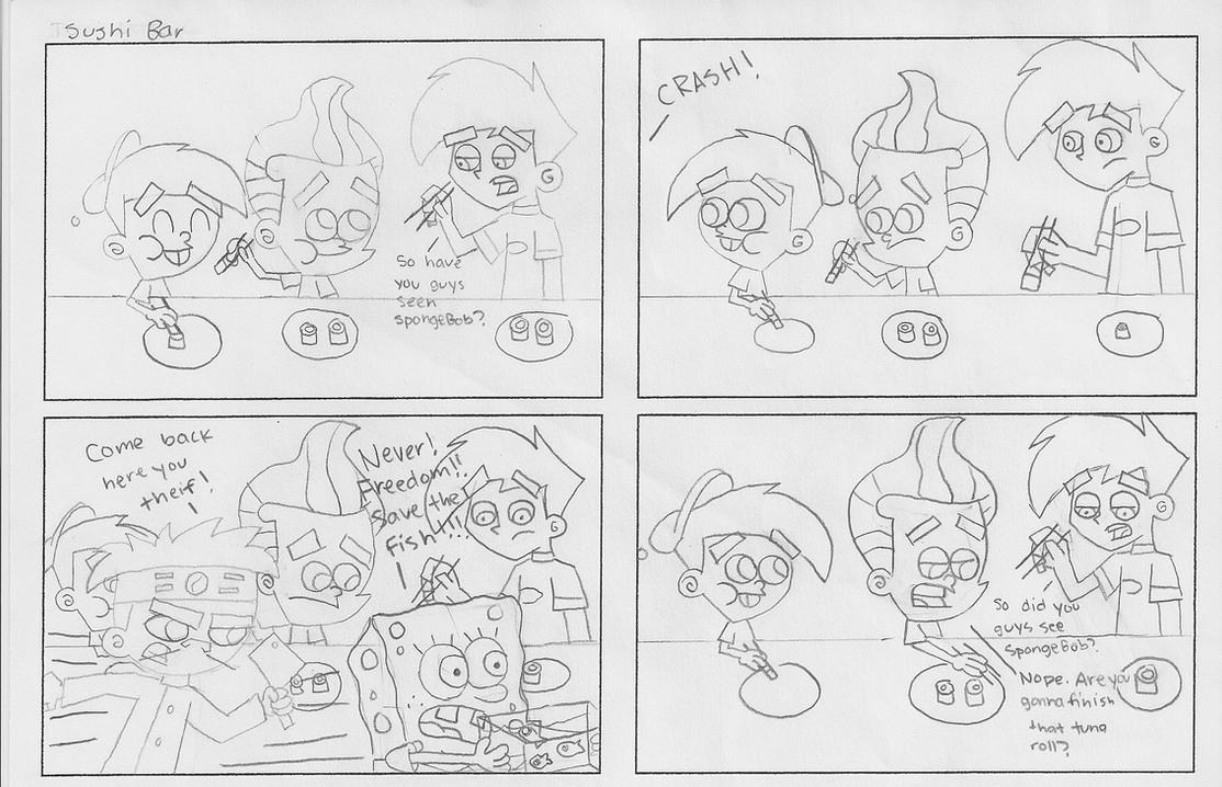 Comic Sketch: Sushi Bar by dannyfangirl