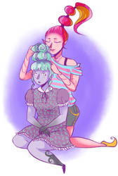 Gigi and Twyla slumber party by Spacegee