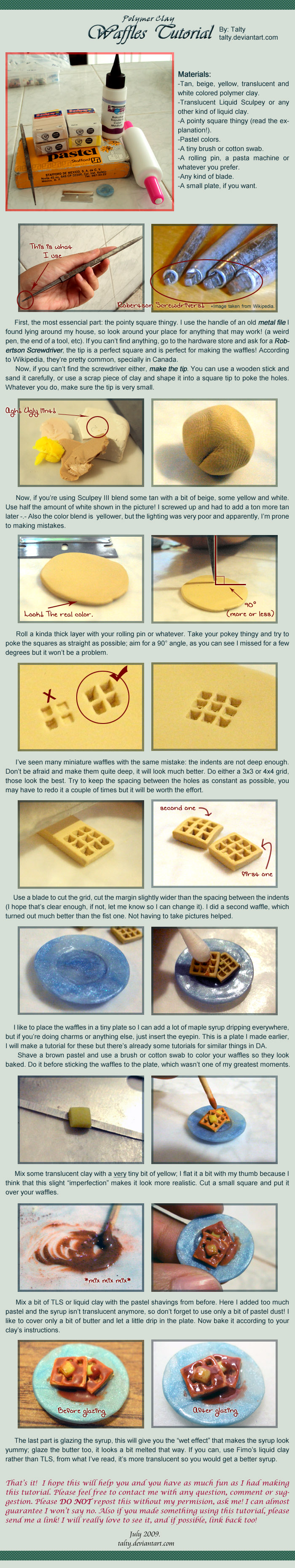 Polymer Clay Waffles Tutorial by Talty