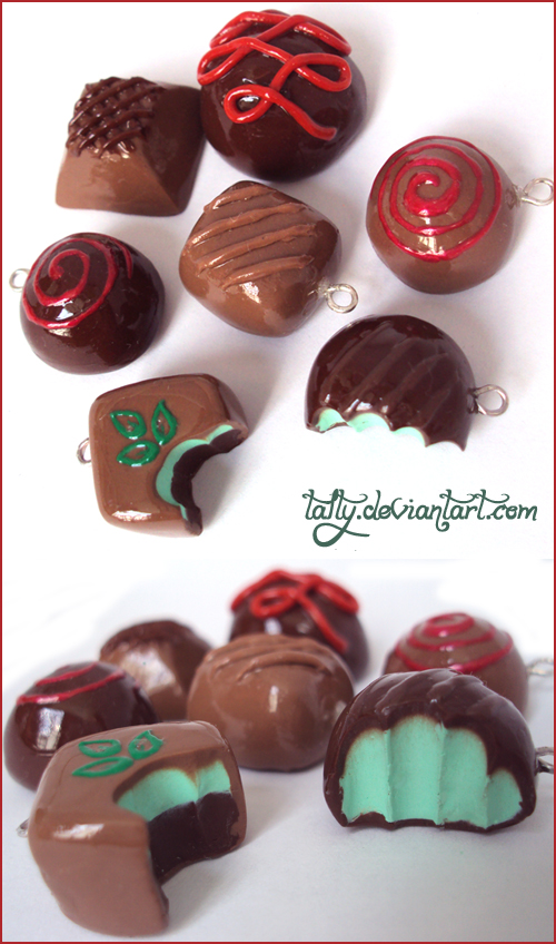 Polymer clay pralines by Talty