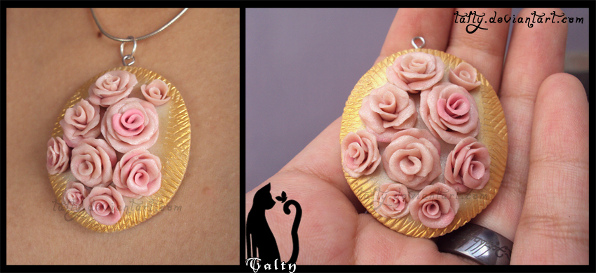 Pink Roses Pendant by Talty
