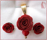 Polymer Clay Red Roses Set