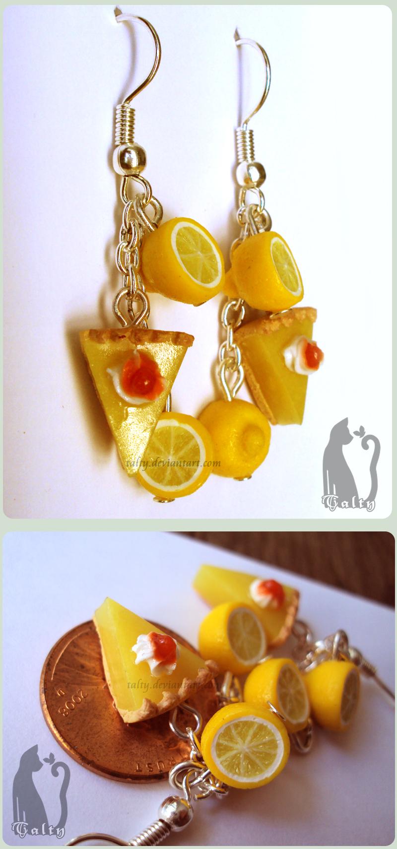 Polymer Clay Lemon Pie Earrings by Talty
