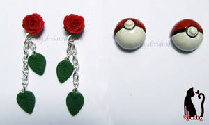 Rose and Pokeball Earrings by Talty